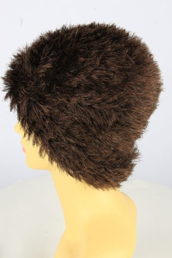 Furry Beanie Winter Hat Vintage Womens 1990s Brown -HAT1745-150936