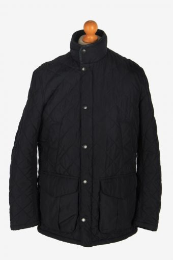 Mens Barbour Devon Quilt Jacket Vintage Size M Black C2425