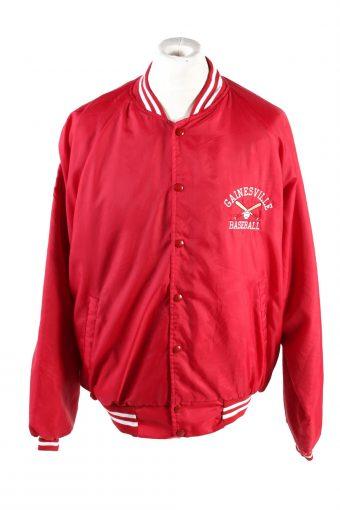 Baseball Jacket USA College Satin Bomber  Vintage Size XL Red C1755