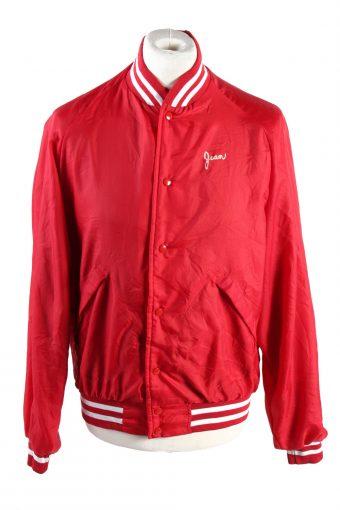 Baseball Jacket USA College Satin Bomber  Vintage Size L Red C1756
