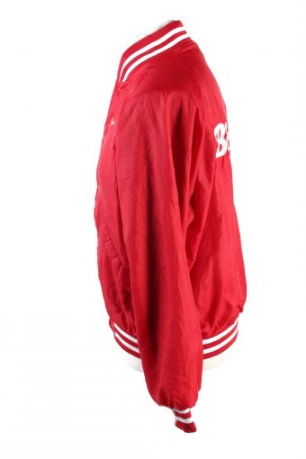 Baseball Jacket USA College Satin Bomber Vintage Size L Red C1756-156359