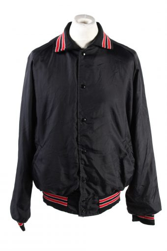 Baseball Jacket USA College Satin Bomber  Vintage Size XL Black C1757