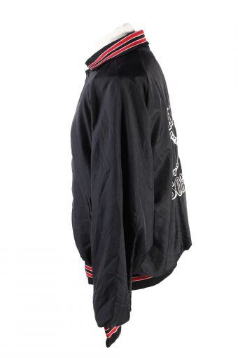 Baseball Jacket USA College Satin Bomber Vintage Size XL Black C1757-156363