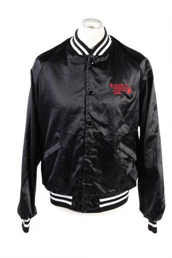 Baseball Jacket USA College Satin Bomber  Vintage Size L Black C1759