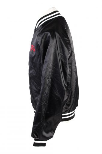 Baseball Jacket USA College Satin Bomber Vintage Size L Black C1759-156371