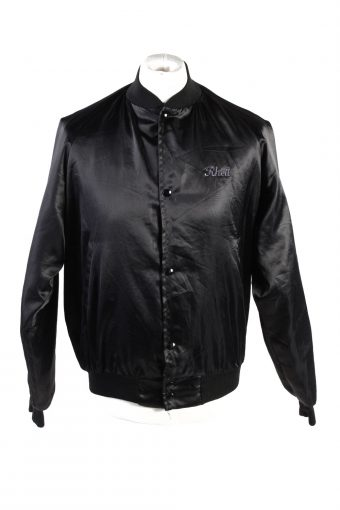 Baseball Jacket USA College Satin Bomber  Vintage Size M Black C1760
