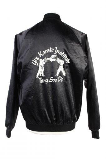 Baseball Jacket USA College Satin Bomber Vintage Size M Black C1760-156375