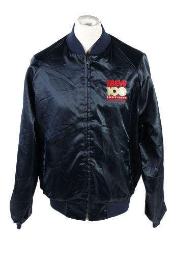 Baseball Jacket USA College Satin Bomber  Vintage Size L Dark Blue C1763