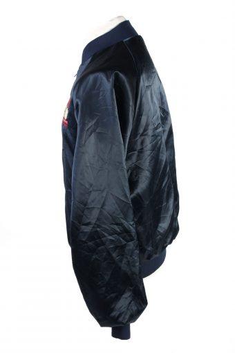 Baseball Jacket USA College Satin Bomber Vintage Size L Dark Blue C1763-156387