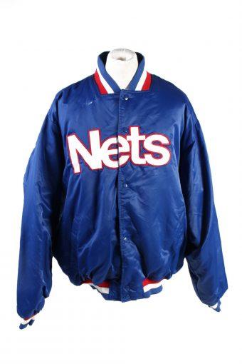 Baseball Jacket USA College Satin Bomber  Vintage Size XXL Blue C1764
