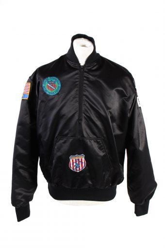 Baseball Jacket USA College Satin Bomber  Vintage Size L Black C1766