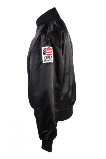 Baseball Jacket USA College Satin Bomber Vintage Size L Black C1766-156399