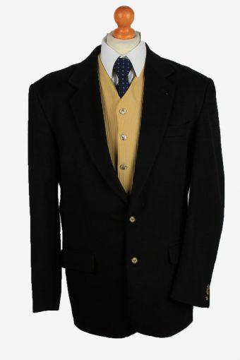 Mens Blazer Jacket Cashmere 90s Black XL