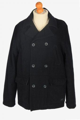 Mens Pea Coat Classic Vintage Size L Black C2343