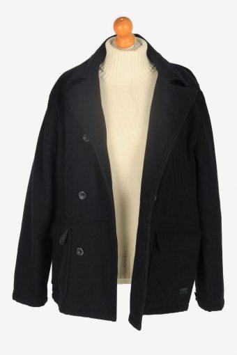 Mens Pea Coat Classic Vintage Size L Black C2343-157080