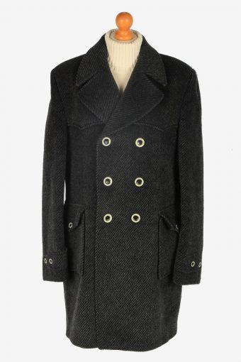 Mens Pea Coat Classic Vintage Size L Dark Grey C2344