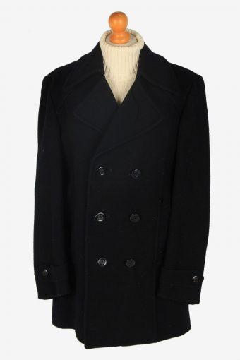Mens Pea Coat Classic Vintage Size L Black C2347