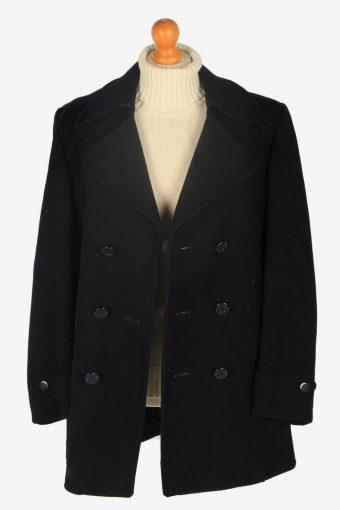 Mens Pea Coat Classic Vintage Size L Black C2347-157097