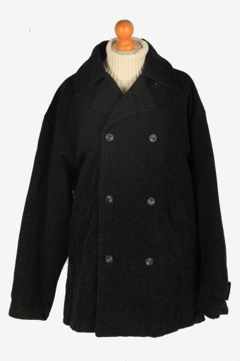 Mens Pea Coat Classic Vintage Size XXL Dark Grey C2348