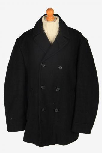 Mens Pea Coat Classic Vintage Size XL Black C2350