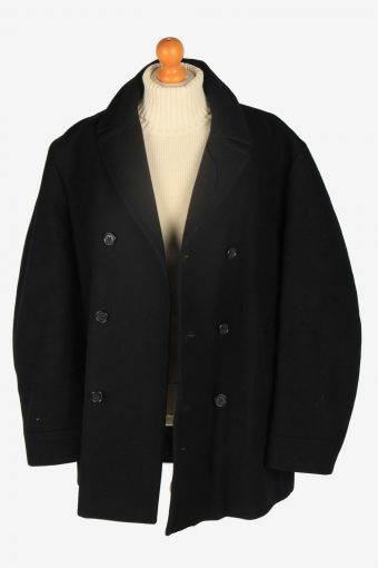 Mens Pea Coat Classic Vintage Size XL Black C2350-157112