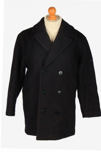 Mens Pea Coat Classic Vintage Size S Black C2351
