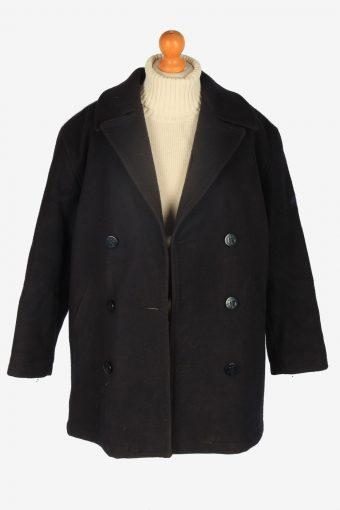 Mens Pea Coat Classic Vintage Size S Black C2351-157117