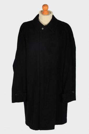 Mens Cashmere Overcoat Classic Vintage Size L Black C2352