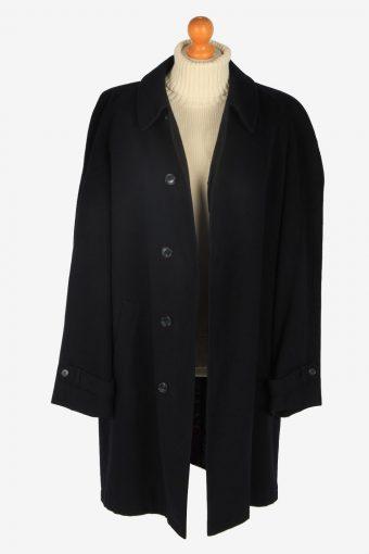 Mens Cashmere Overcoat Classic Vintage Size L Black C2352-157122