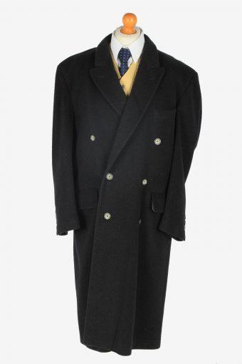 Mens Cashmere Coat Classic Vintage Size XXL Dark Grey C2354