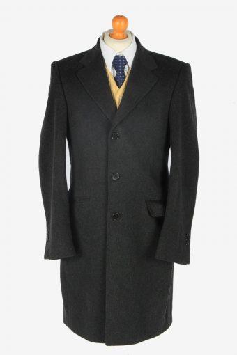 Mens Cashmere Coat Classic Vintage Size M Dark Grey C2355