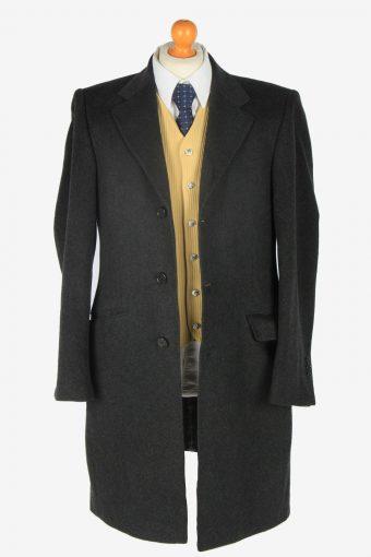 Mens Cashmere Coat Classic Vintage Size M Dark Grey C2355-157137