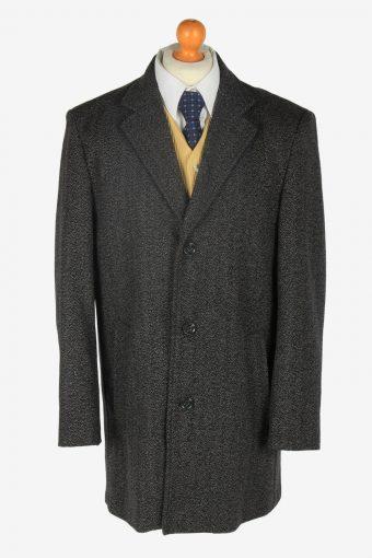 Mens Wool  Overcoat Classic Vintage Size L Grey C2356