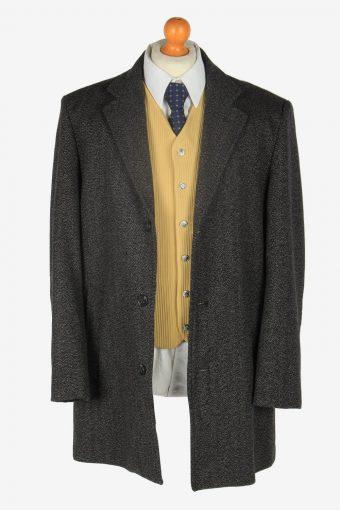 Mens Wool Overcoat Classic Vintage Size L Grey C2356-157142