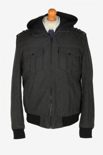 Guess Classic Hoodies Jacket Vintage Size L Dark Grey C2359