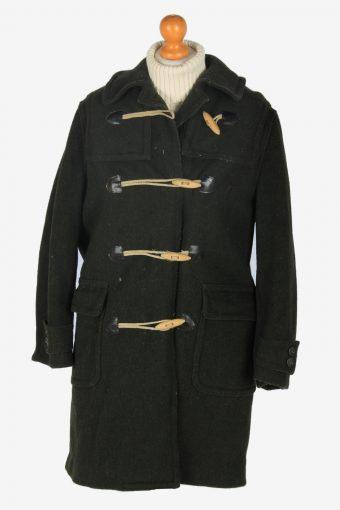 Women Duffle Coat Classic Vintage Size S Dark Green C2363