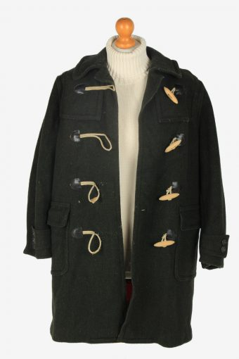 Women Duffle Coat Classic Vintage Size S Dark Green C2363-157177