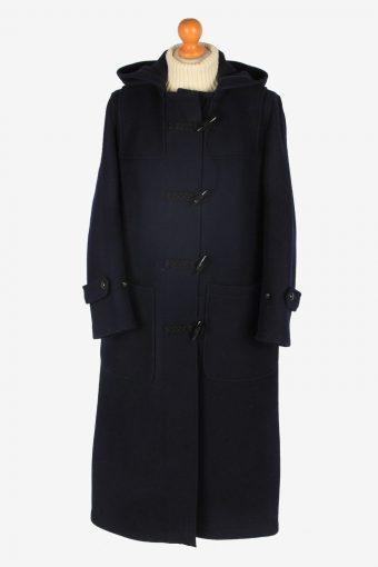 Women Duffle Coat Classic Vintage Size L Navy C2364