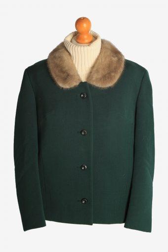 Womens Coat Fur Collar Designer Vintage Size M Green C2321