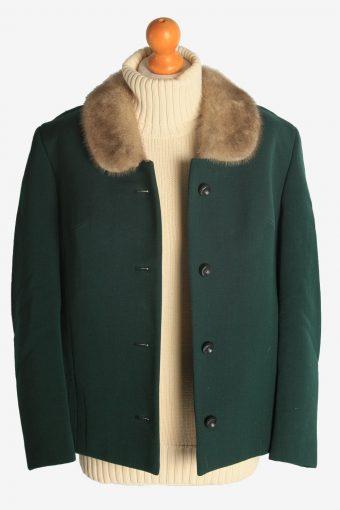 Womens Coat Fur Collar Designer Vintage Size M Green C2321-156882