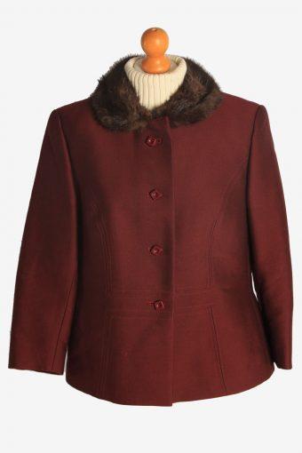 Womens Coat Fur Collar Designer Vintage Size M Burgundy C2322