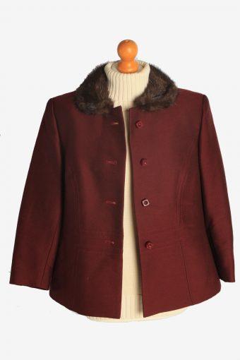 Womens Coat Fur Collar Designer Vintage Size M Burgundy C2322-156887