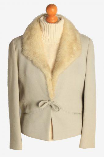 Womens Coat Fur Collar Designer Vintage Size S Beige C2323