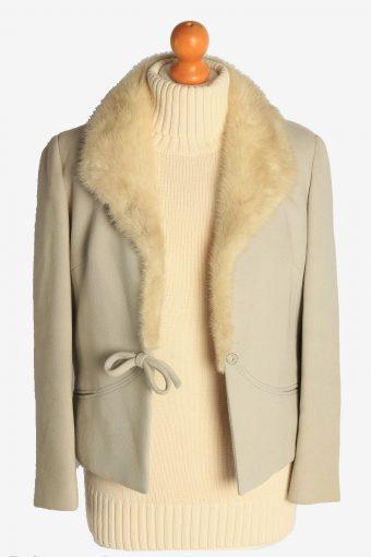Womens Coat Fur Collar Designer Vintage Size S Beige C2323-156892
