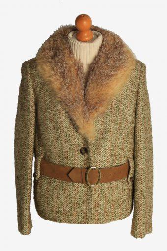 Womens Coat Faux Fur Neck Designer Vintage Size M Multi C2324