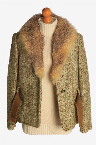 Womens Coat Faux Fur Neck Designer Vintage Size M Multi C2324-156897