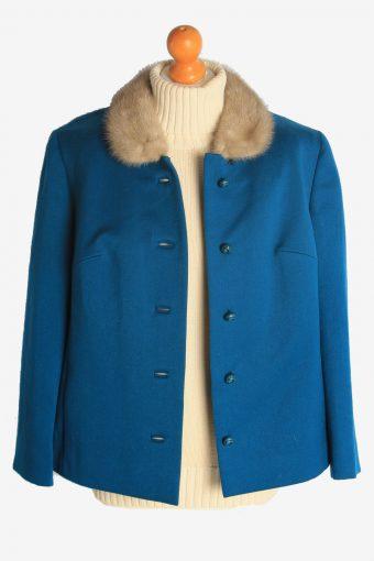 Womens Coat Fur Collar Designer Vintage Size XL Teal C2325-156902