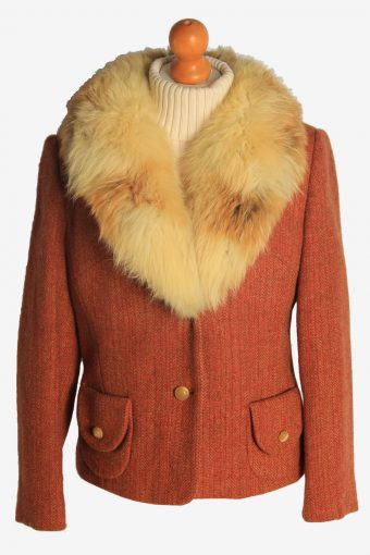 Womens Coat Fur Collar Designer Vintage Size M Orange C2326