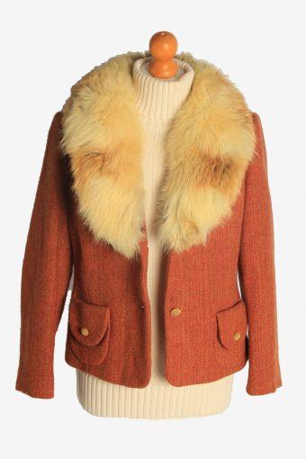 Womens Coat Fur Collar Designer Vintage Size M Orange C2326-156907