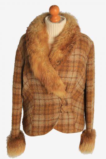 Womens Coat Fur Collar Designer Vintage Size M Brown C2327